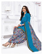 Pranjul Sky Blue Color Design Patiyala Pure Cotton Dress Material