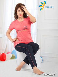 Peach Colored Sleepwear Comfortable Girl T Shirt+Pant