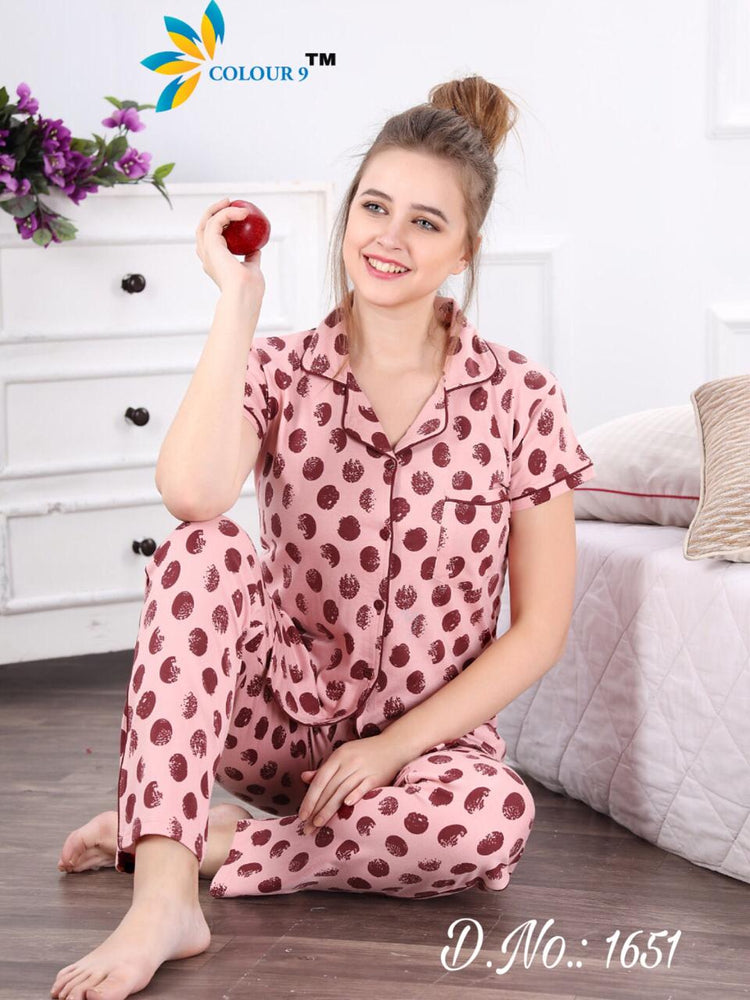 Color Pink With Maroorn Ball Design Class Night suits (Shirt + Pant)