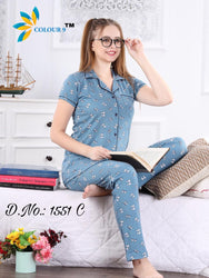 Purl Blue With Butterfly Design Class Night suits (Shirt + Pant)