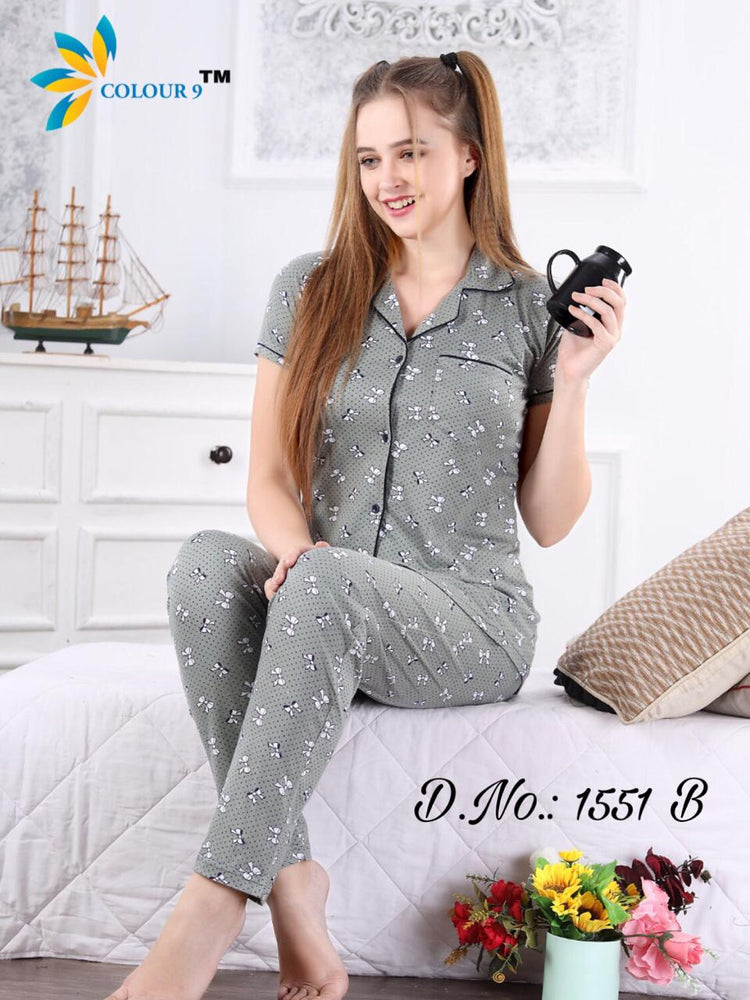 Gray Color With Butterfly Design Class Night suits (Shirt + Pant)