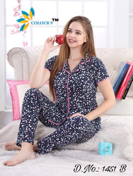 Navy Blue with Heart Shape Design Class Night suits (Shirt + Pant)