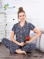Navy Blue Color With Heart Design Class Night suits (Shirt + Pant)