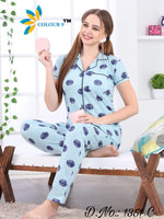 Sky Color With Blue Geomatric Ball Design Class Night suits (Shirt + Pant)