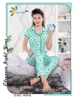 Turquoise Color with Strawberry Design Class Night suits (Shirt + Pant)