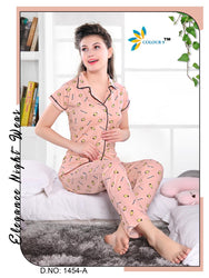 Peach Color With Strawberry Design Class Night suits (Shirt + Pant)