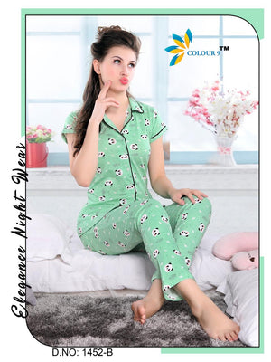 Turquoise Color With Cartoon Design Class Night suits (Shirt + Pant)