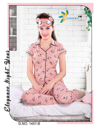 Peach Color With Mosquito Design Class Night suits (Shirt + Pant)