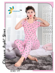 Pink Color With Fruit Design Class Night suits (T shirt+ Pant)