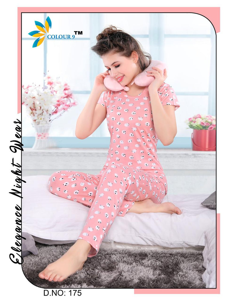 Pink Color With Cartoon Design Class Night suits (T shirt+ Pant)
