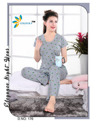 Gray Color With Fruit Design Class Night suits (T shirt+ Pant)