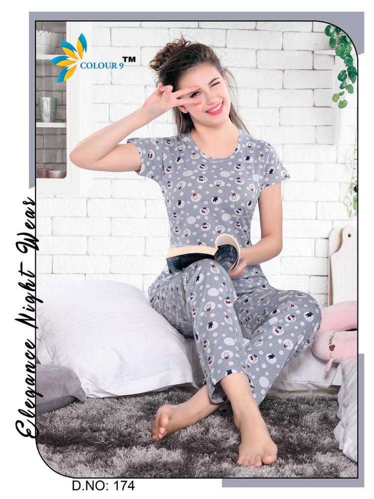 Gray Color With White round Cartoon Design Class Night suits (T shirt+ Pant)