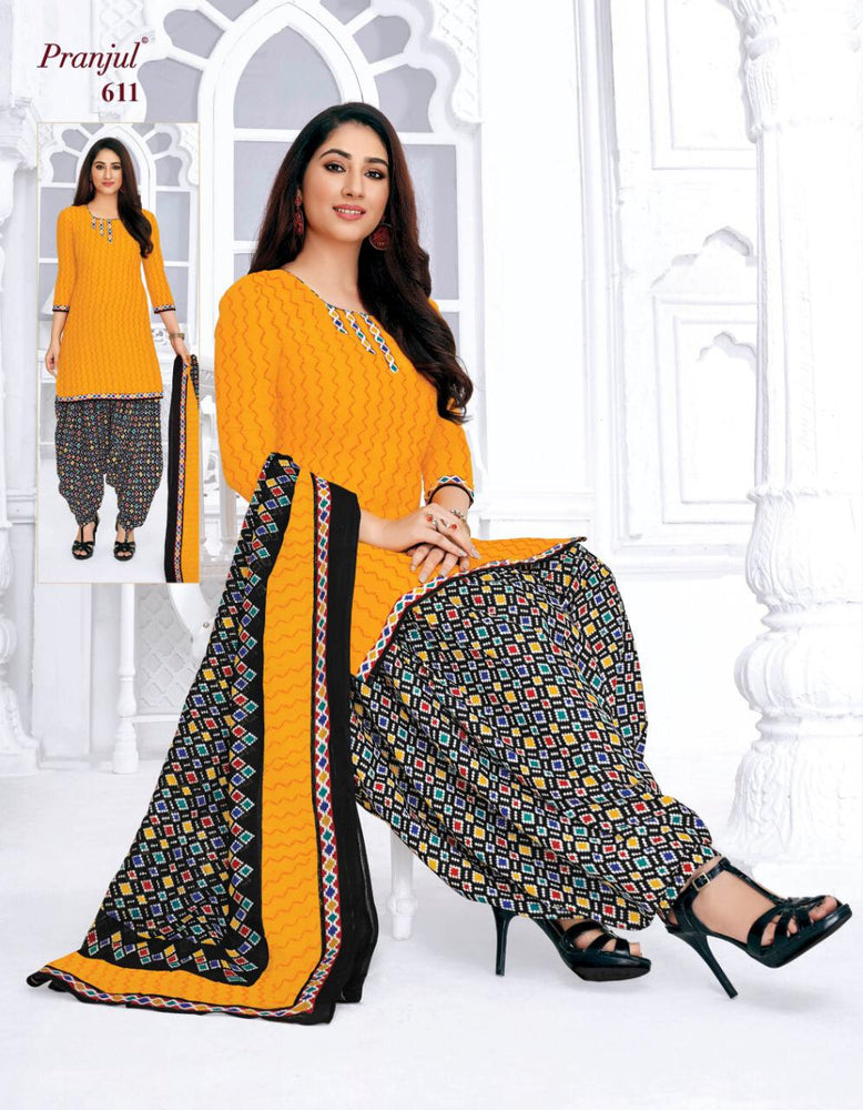 Load image into Gallery viewer, Pranjul Yellow Colourfull Printed Patiyala Pure Cotton Dress Material