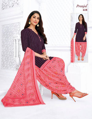 Load image into Gallery viewer, Pranjul Purple and Pink Printed Patiyala Pure Cotton Dress Material