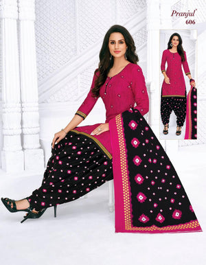 Pranjul Pink and Black Printed Patiyala Pure Cotton Dress Material
