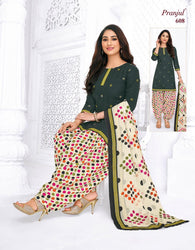 Pranjul Green Colourfull Printed Patiyala Pure Cotton Dress Material