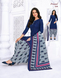 Pranjul Blue Colourfull Printed Patiyala Pure Cotton Dress Material