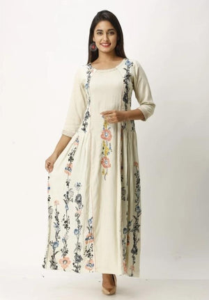 Load image into Gallery viewer, Vastrangini Designer Printed Rayon Long Anarkali Type Kurti