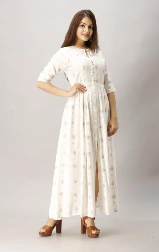Vastrangini Designer White Rayon Long Anarkali Type Kurti Wedding Collection