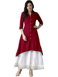 Vastragini Fashion Present Rayon Kurti For Women with Palazzo with lace Work