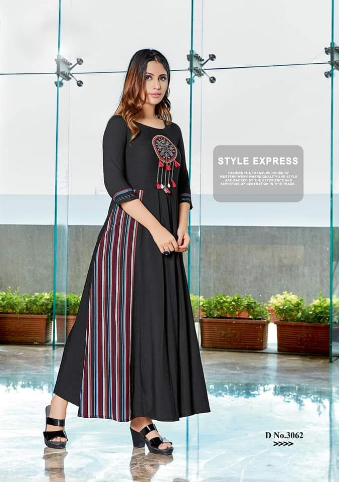 Load image into Gallery viewer, Mittoo Rangat Rayon Long Gown Style Kurtis