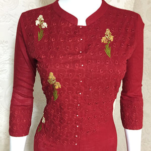 Vastrangini Fashion Cotton Designer Chinese Collar Kurti With Embroidery Work