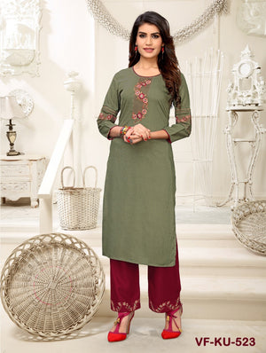 Load image into Gallery viewer, Vastrangini Fashion Cotton Designer Kurti With Pant Embroidery Work