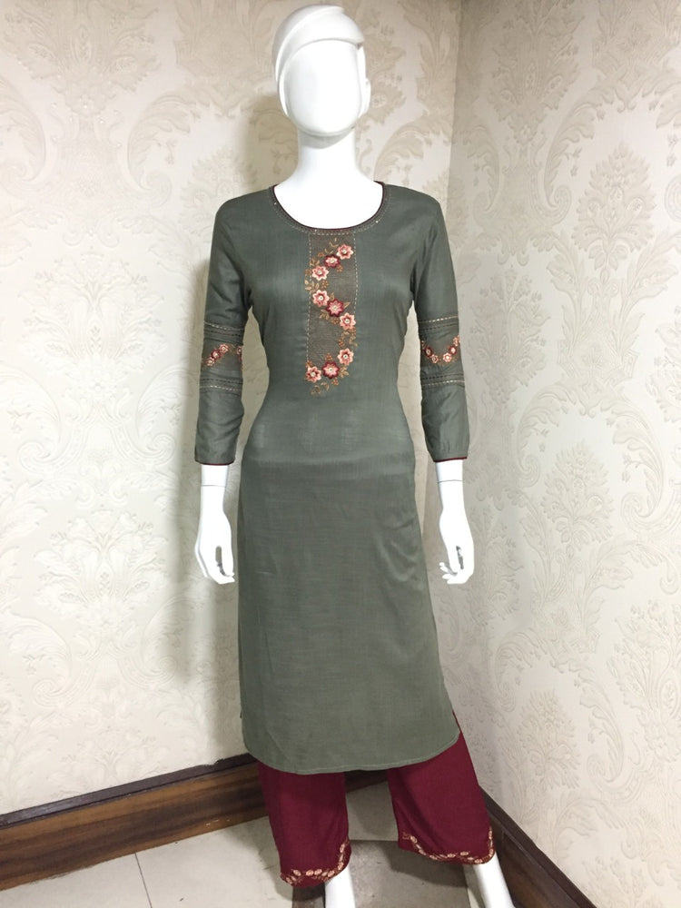 Vastrangini Fashion Cotton Designer Kurti With Pant Embroidery Work