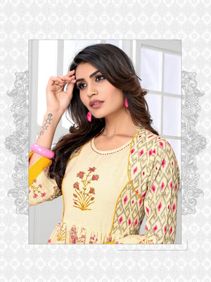 Vastrangini Fashion Cotton Designer Kurti With Embroidery and Handwork