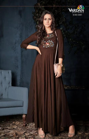 Vardan Heavy Reyon Fabulous Flair Long Gown Kurtis Supplier With Embroidery Work