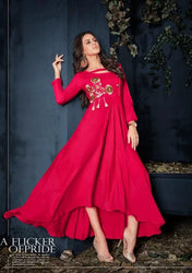 Vardan Heavy Reyon Fabulous Red Wedding Wear Long Gown Kurtis Supplier With Embroidery Work