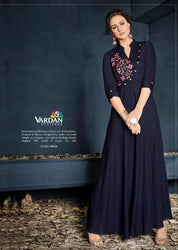 Vardan Heavy Reyon Stylish Navy Blue Colored Long Gown Kurtis Supplier With Work
