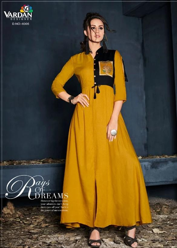 Vardan Heavy Reyon Stylish Long Gown Kurtis Supplier