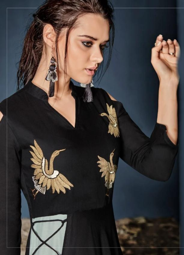 Load image into Gallery viewer, Vardan Heavy Reyon Stylish Long Gown Kurtis Supplier