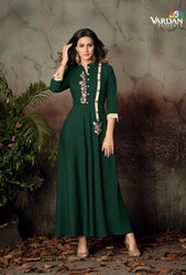 Vardan Gulnaz 2E Heavy Reyon Designer Long Gown Kurtis With Embroidery Work
