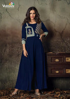 Vardan Gulnaz 2D Heavy Reyon Designer Long Gown Kurtis With Embroidery Work