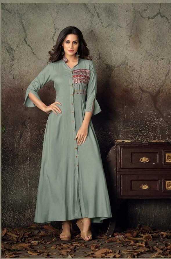 Vardan Gulnaz VOL 2 Heavy Reyon Designer Long Gown Kurtis With Embroidery Work