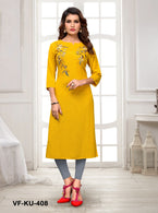 Vastrangini Fashion Cotton Readymade Kurtis with Embroidery Work for Woman