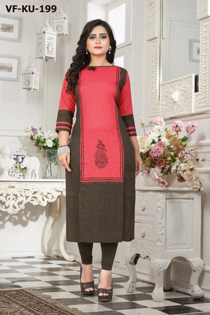 Vastrangini Fashion Dyed Cotton Straight Cut And Printed Kurtis for Woman