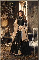 Mugdha Jennifer Winget Black Art Silk Lehenga Style Anarkali Gown