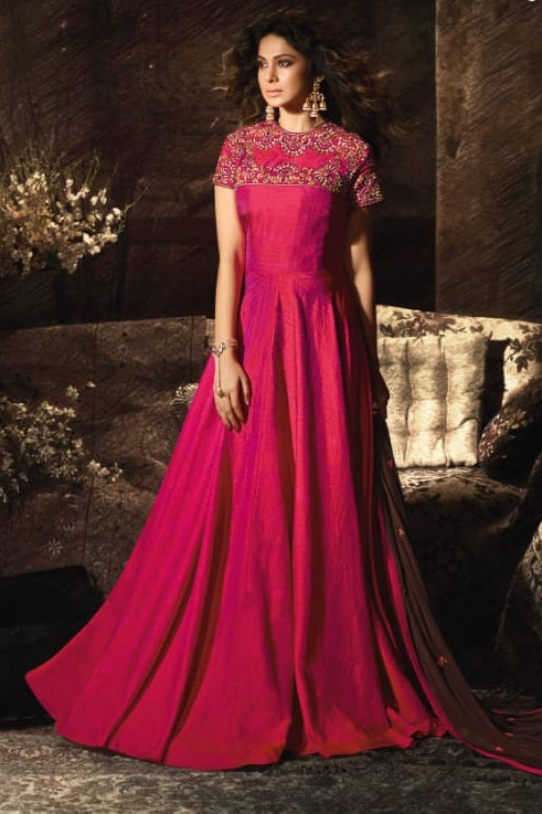 Load image into Gallery viewer, Mugdha Jennifer Winget Pink Art Silk Lehenga Style Anarkali Gown