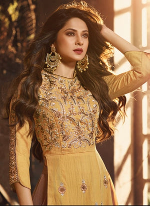 Mugdha Jennifer Winget Yellow Art Silk Lehenga Style Anarkali Gown