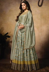Mugdha Resham Green Jennifer Winget Floor Length Anarkali Suit