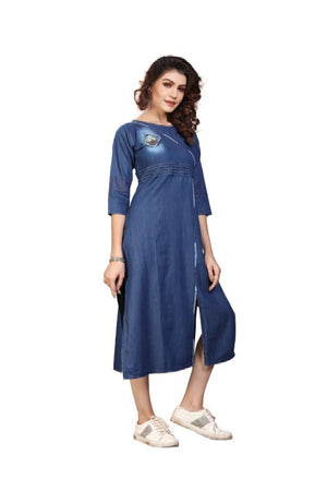 Denim Kurtis For Women Class Style By Pure Cotton Denim With Work