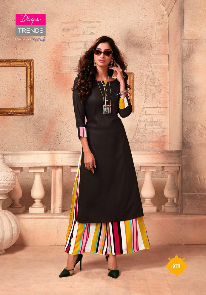 Diya Trends by Kajal Style Design 2 Heavy Rayon Kurti With Palazzo