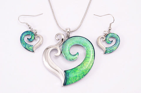 Green/Blue Koru Heart Set