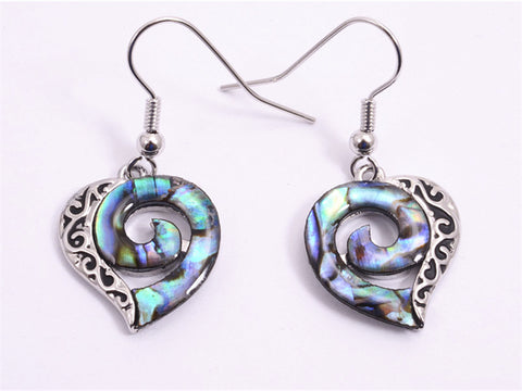 Paua Heart Koru Earrings