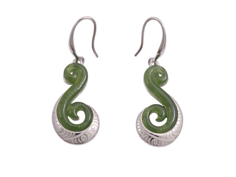 Green Koru Earrings