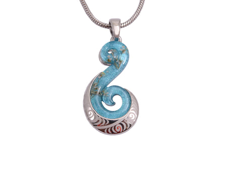 Light Blue Koru Necklace