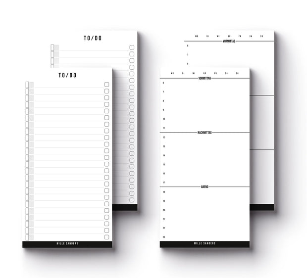ESSENTIALS SET - Tagesplaner, To-Do, Notizblock Set 4 teilig - Mille Sanders